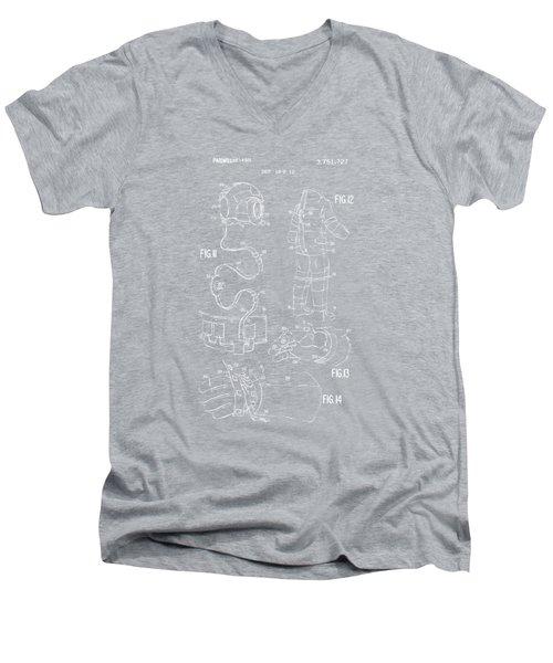 1973 Space Suit Elements Patent Artwork - Blueprint Men's V-Neck T-Shirt by Nikki Marie Smith