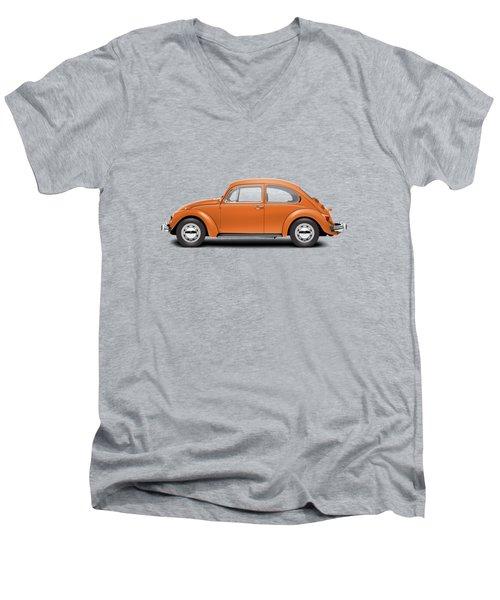 1974 Volkswagen Beetle - Bright Orange Men's V-Neck T-Shirt