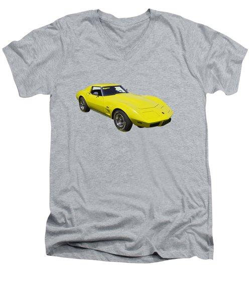 1975 Corvette Stingray Sportscar Men's V-Neck T-Shirt