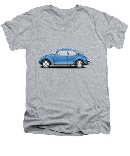 1975 Volkswagen Super Beetle - Ancona Blue Metallic Men's V-Neck T-Shirt by Ed Jackson