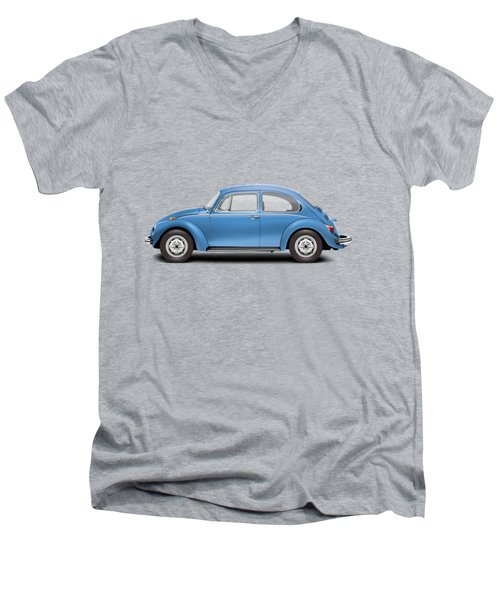 1975 Volkswagen Super Beetle - Ancona Blue Metallic Men's V-Neck T-Shirt