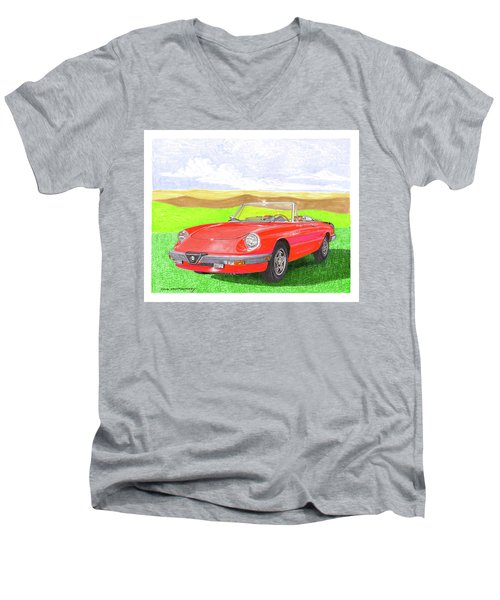 Men's V-Neck T-Shirt featuring the painting 1983 Alfa Romero Spider Veloce by Jack Pumphrey