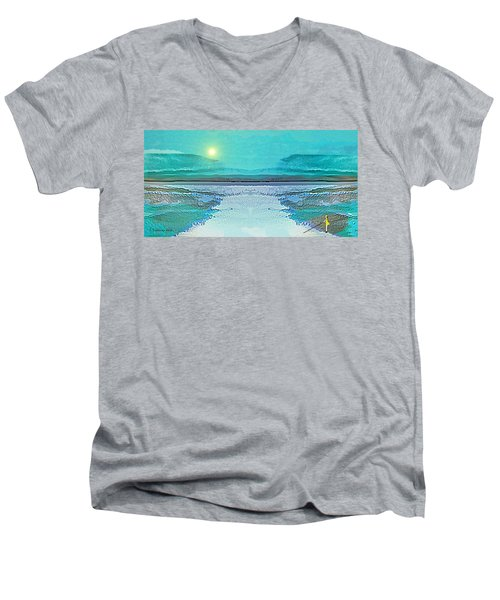 Men's V-Neck T-Shirt featuring the digital art 1983 - Blue Waterland -  2017 by Irmgard Schoendorf Welch