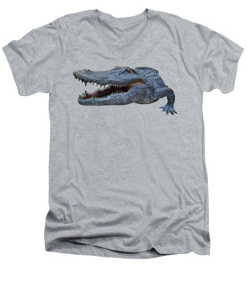 1998 Bull Gator Up Close Transparent For Customization Men's V-Neck T-Shirt by D Hackett