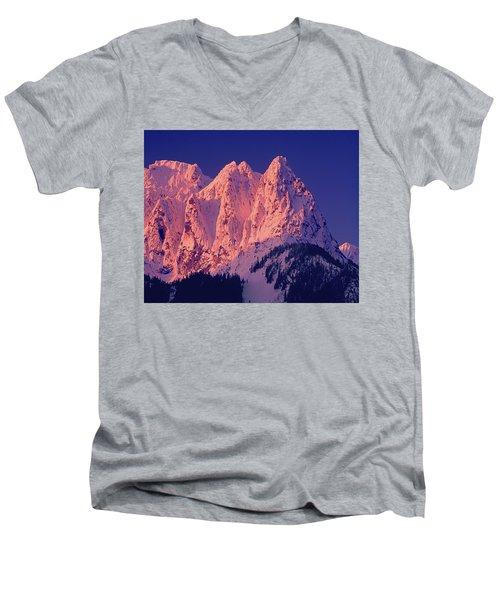 1m4503-a Three Peaks Of Mt. Index At Sunrise Men's V-Neck T-Shirt