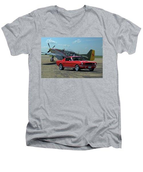 1965 Mustang Fastback Men's V-Neck T-Shirt by Tim McCullough