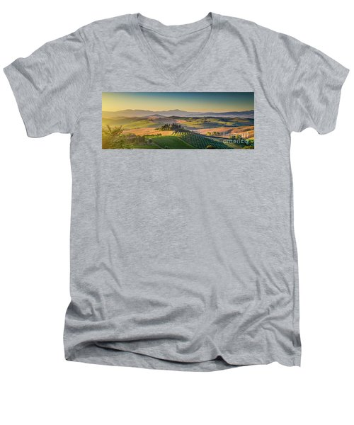 A Golden Morning In Tuscany Men's V-Neck T-Shirt by JR Photography