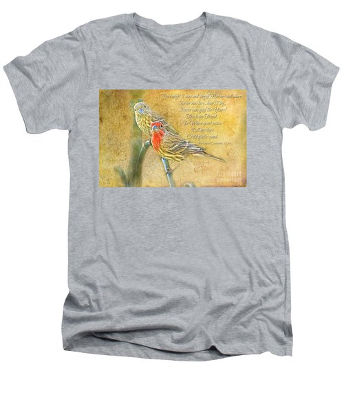 A Pair Of Housefinches With Verse Part 2 - Digital Paint Men's V-Neck T-Shirt by Debbie Portwood
