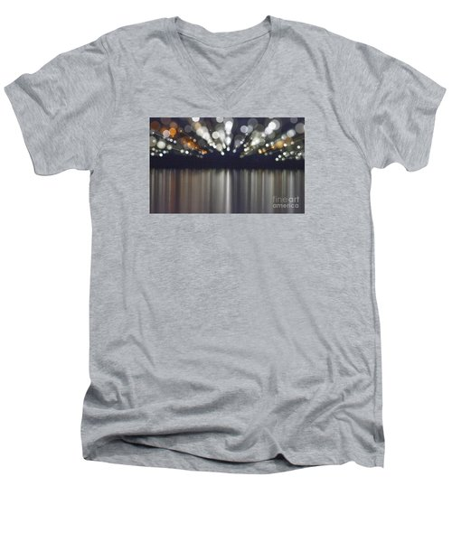 Abstract Light Texture With Mirroring Effect Men's V-Neck T-Shirt by Odon Czintos