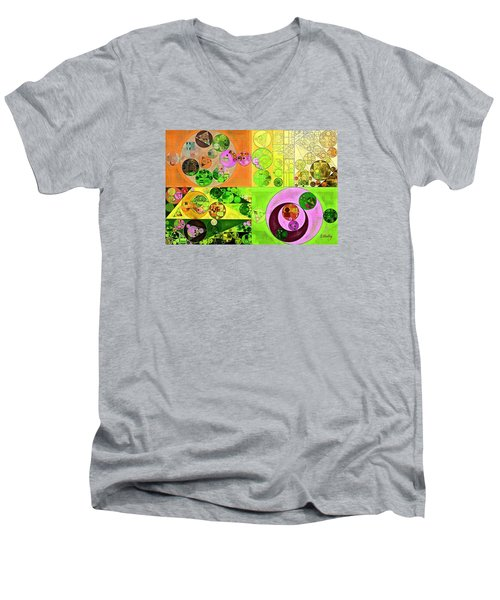 Men's V-Neck T-Shirt featuring the digital art Abstract Painting - Turtle Green by Vitaliy Gladkiy