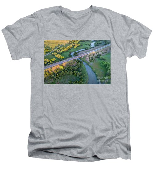 aerial view of Dismal River in Nebraska Men's V-Neck T-Shirt