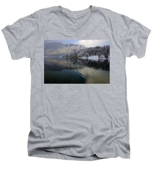 Alpine Winter Reflections Men's V-Neck T-Shirt
