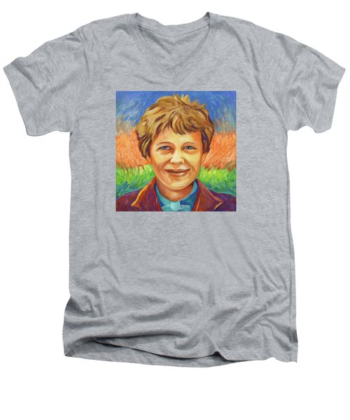 Amelia Earhart Portrait Men's V-Neck T-Shirt