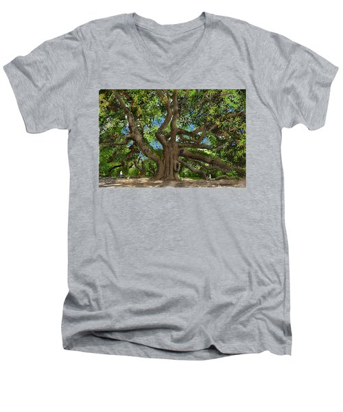 Men's V-Neck T-Shirt featuring the drawing Angel Oak by Jim Hubbard