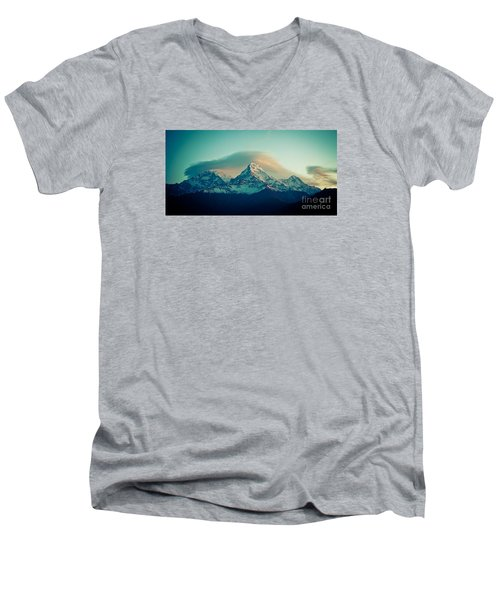 Annapurna South At Sunrise In Himalayas Artmif Photo Raimond Klavins Men's V-Neck T-Shirt