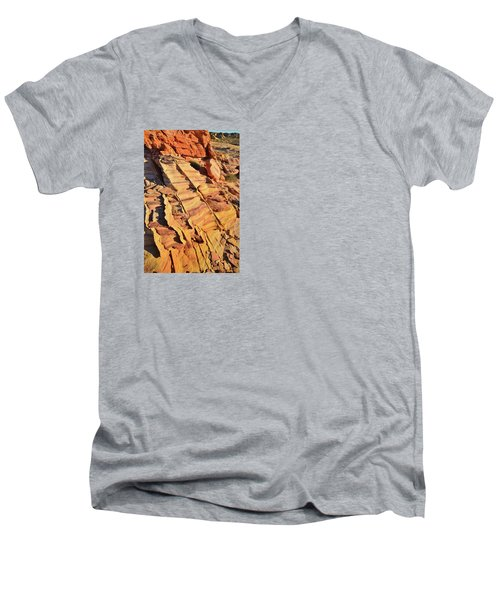 Men's V-Neck T-Shirt featuring the photograph Bands Of Color In Valley Of Fire by Ray Mathis