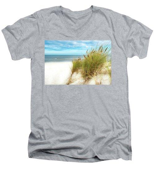 Men's V-Neck T-Shirt featuring the photograph Beach Grass by Hannes Cmarits
