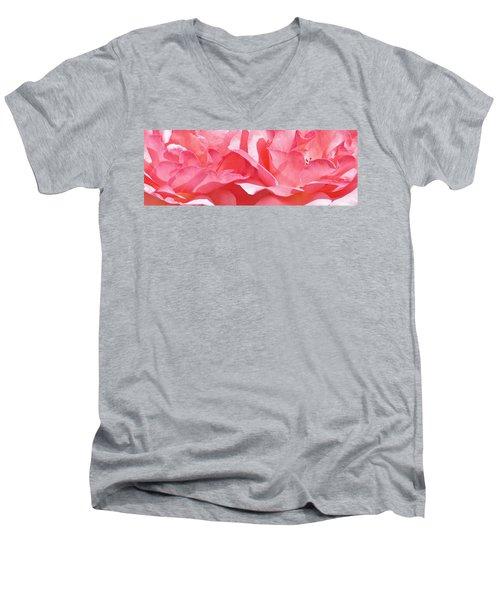 Beautiful Pink Rose Men's V-Neck T-Shirt