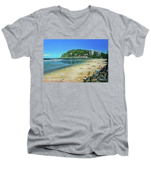 Men's V-Neck T-Shirt featuring the painting Burleigh Beach 100910 by Selena Boron