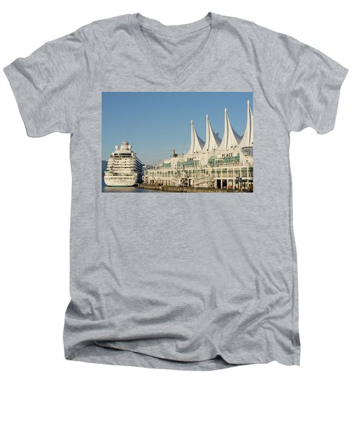 Canada Place Men's V-Neck T-Shirt by Ross G Strachan