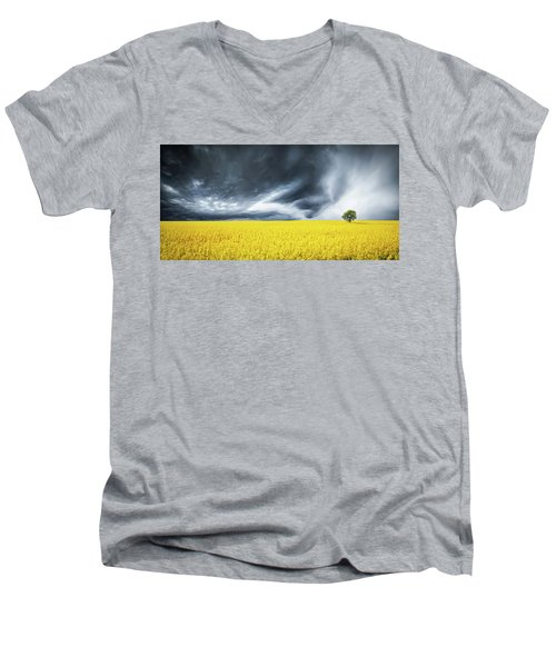 Canola Field Men's V-Neck T-Shirt by Bess Hamiti