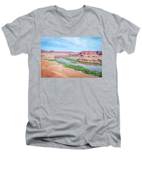 Canyon Of Colorado River In Utah Aerial View Men's V-Neck T-Shirt
