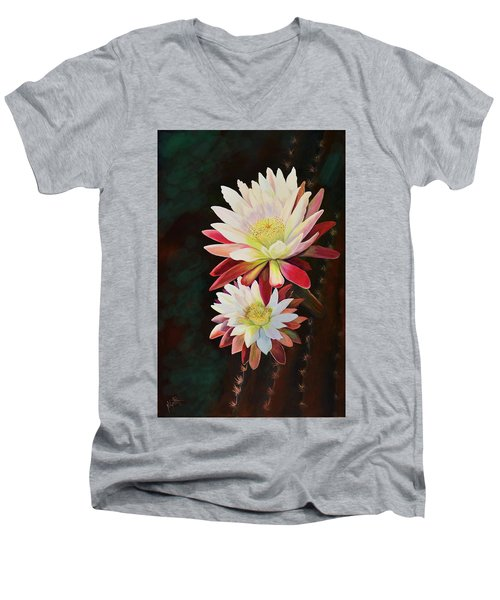 Men's V-Neck T-Shirt featuring the painting Cereus Business by Marilyn Smith