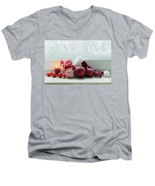 Christmas Windowsill Men's V-Neck T-Shirt by Anastasy Yarmolovich