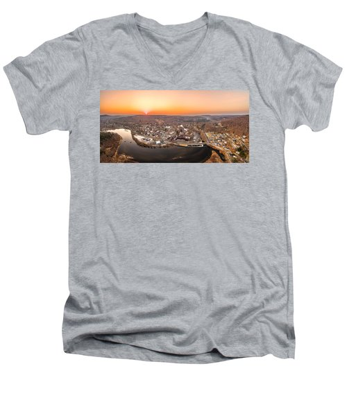 Colinsville, Connecticut Sunrise Panorama Men's V-Neck T-Shirt by Petr Hejl