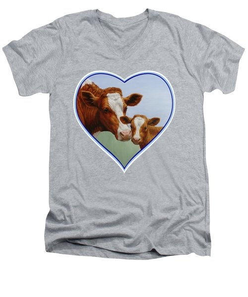 Cow And Calf Blue Heart Men's V-Neck T-Shirt