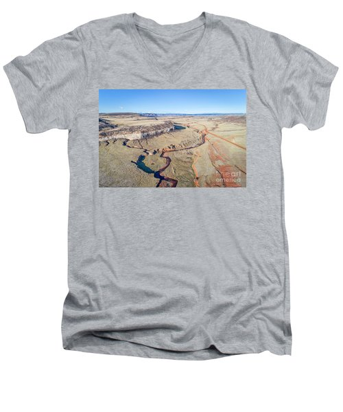 creek at  Colorado foothills - aerial view Men's V-Neck T-Shirt