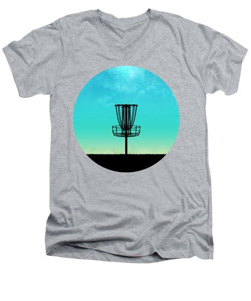 Disc Golf Basket Silhouette Men's V-Neck T-Shirt
