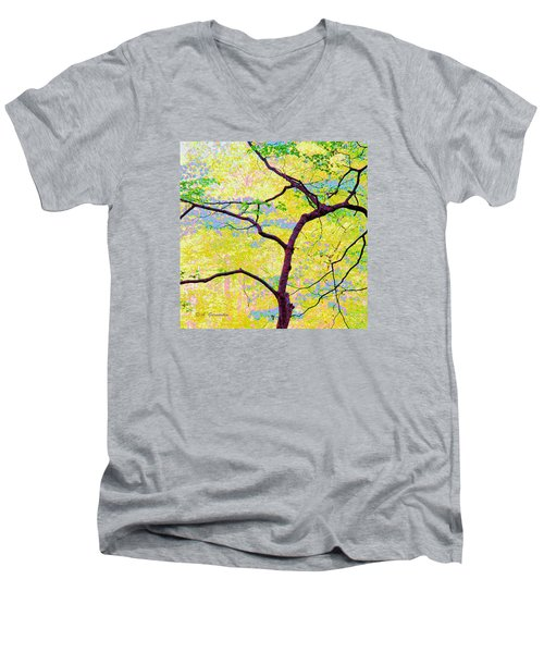 Men's V-Neck T-Shirt featuring the digital art Dogwood Tree In Spring by A Gurmankin