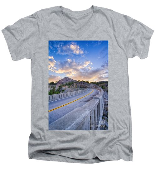 Men's V-Neck T-Shirt featuring the photograph Donner Memorial Bridge by Vincent Bonafede