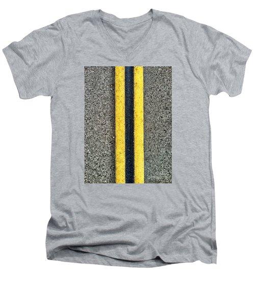 Double Yellow Road Lines Men's V-Neck T-Shirt