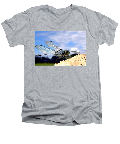 Dragonfly On A Mushroom 001  Men's V-Neck T-Shirt