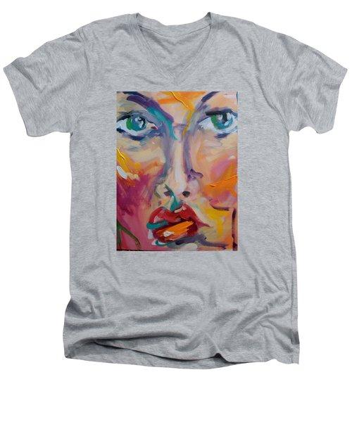 Face Men's V-Neck T-Shirt by Heather Roddy