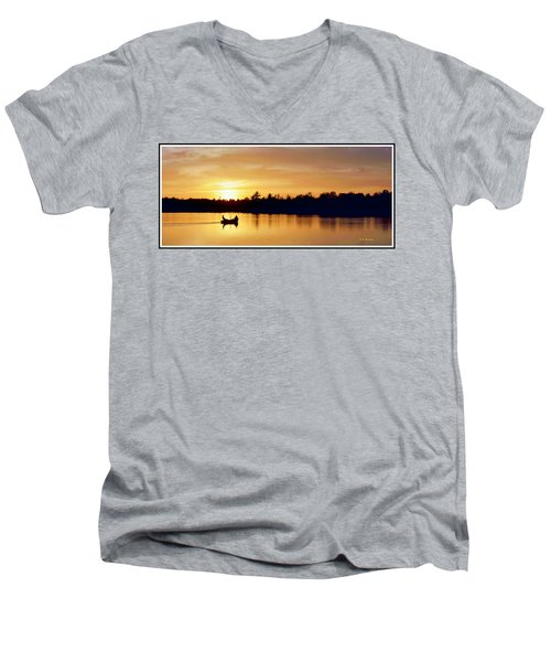 Fishermen On A Lake At Sunset Men's V-Neck T-Shirt by A Gurmankin