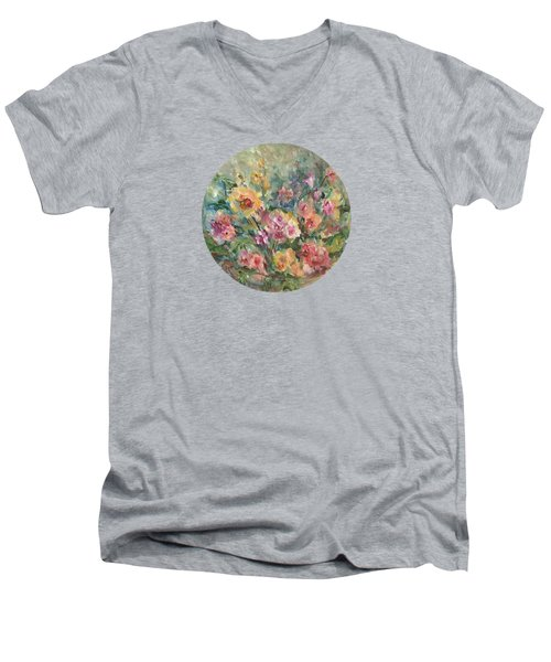 Floral Painting Men's V-Neck T-Shirt