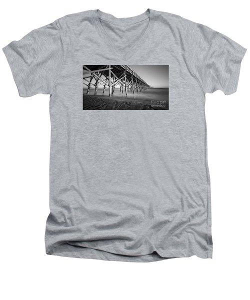 Folly Beach Pier Black And White Men's V-Neck T-Shirt