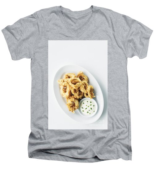 Fried Calamari Squid Rings With Aioli Garlic Sauce Men's V-Neck T-Shirt