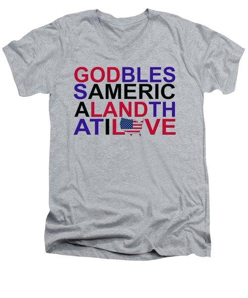 God Bless America Men's V-Neck T-Shirt by Mal Bray