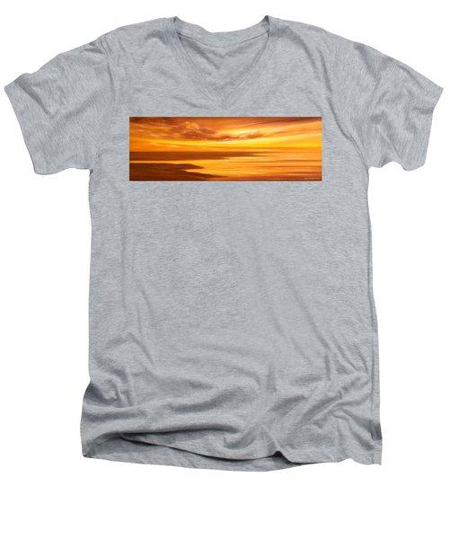 Golden Panoramic Sunset Men's V-Neck T-Shirt