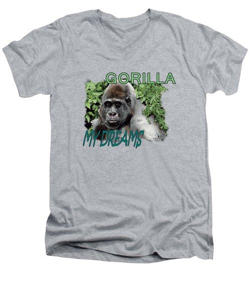 Gorilla My Dreams Men's V-Neck T-Shirt by Joseph Juvenal