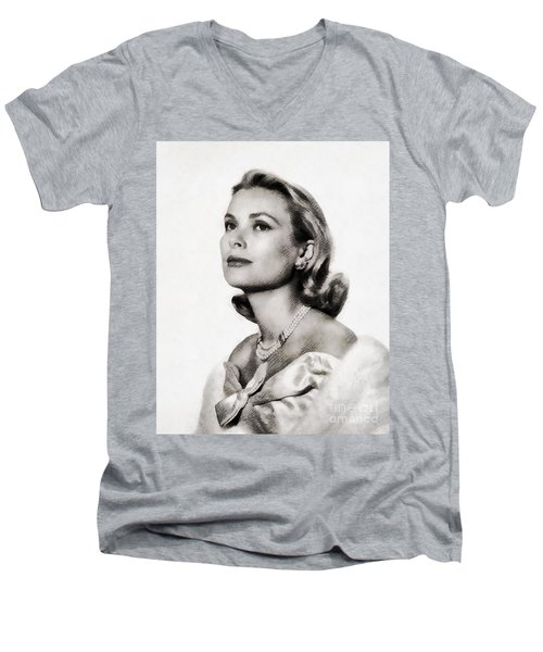 Grace Kelly, Vintage Hollywood Actress Men's V-Neck T-Shirt by John Springfield