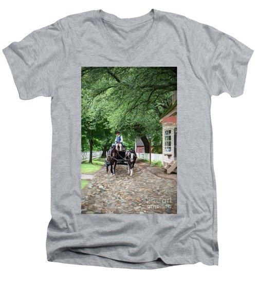 Horse Drawn Wagon Men's V-Neck T-Shirt
