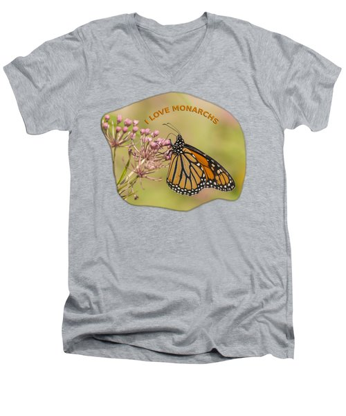 I Love Monarchs Men's V-Neck T-Shirt by Thomas Young