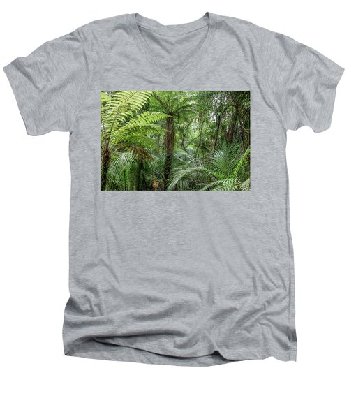 Men's V-Neck T-Shirt featuring the photograph Jungle Ferns by Les Cunliffe