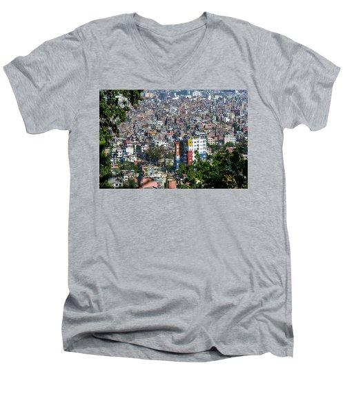 Kathmandu City In Nepal Men's V-Neck T-Shirt