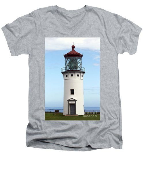Kilauea Lighthouse On Kauai Men's V-Neck T-Shirt by Catherine Sherman